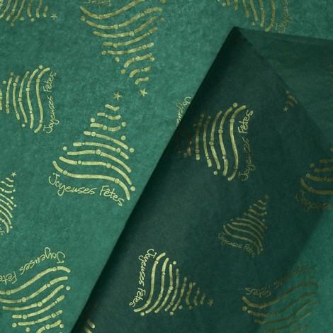 """Papier de soie """"Joyeuses Fêtes"""" Vert & Or"""